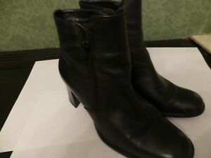 LADIES BLACK LEATHER ANKLE BOOTS SIZE 5