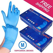 200 /2boxes Blue Nitrile Medical Exam Gloves Powder Free (Non Vinyl Latex)MEDIUM