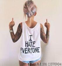 I HATE EVERYONE VEST, Hipster,Grunge,Punk ,Emo,Rock Unisex Oversized Tank Top