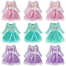 Baby Birthday Dress Girls Party Outfit Kids Princess Toddler 1st 2nd 3rd Bday
