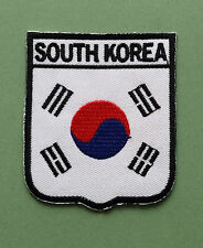 NATIONAL FLAG COUNTRY SHIELD SEW ON / IRON ON EMBROIDERED PATCH:- SOUTH KOREA
