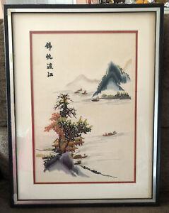 vtg Chinese Oriental  Silk Needlepoint Art Signed Framed Houses Fishing Boats