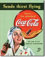 Coca Cola Coke Sends Thirst  Flying Advertising Vintage Retro Metal Tin Sign New