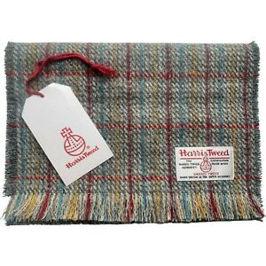 Harris Tweed Grey with Red Blue & Yellow Check Pure Wool Unisex Fringed Scarf