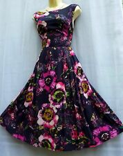 FANTASTIC MONSOON 'Daryn' SIZE 16 FLORAL PRINTED PURPLE 40'S/50'S TEA DRESS