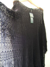 95aac100d0d57 NWT LAUREN Ralph Lauren Black Crochet Fringe Poncho Style Swim Cover Up S M   175