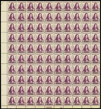 1932 3 Cent William Penn Mint Never Been Hinged Sheet of 100 Stamps Scott 724