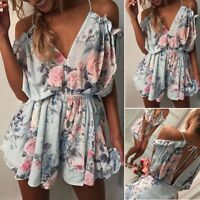 Women Loose Mini V Neck Playsuit Romper Summer Beach Casual Shorts Jumpsuit
