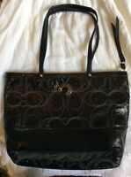 $328 AUTHENTIC COACH BLACK PATENT LEATHER SIGNATURE STITCHED OUTLINED TOTE BAG