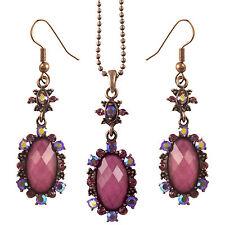 Elegant Pink Purple Retro / Gothic Design Crystal Flower Drop Necklace Earrings