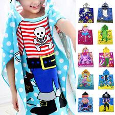Kids Children Hooded Poncho Towel Cartoon Print Bath Swim Beach Wear Bathrobe AU
