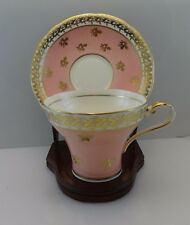 Aynsley Corset Shape Tea Cup Saucer C880 Scalloped Pink/White Gold Trim Vtg
