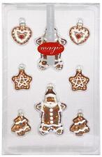 Box 8 biscottini addobbo/addobbi di Natale in vetro ★ Inge-Glas marrone/oro