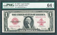 FR40 $1 1923 RED SEAL LEGAL TENDER CHOICE GEM PMG 64 EPQ WL2427 KEY