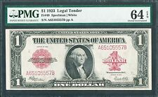 FR40 $1.00 1923 RED SEAL L.T. -- CHOICE GEM -- PMG 64 EPQ WL2427 KEY