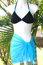SOLID BLUE SHORT MESH SARONG PAREO Beach Cover-up Wrap Skirt ~ MADE IN U.S.A.