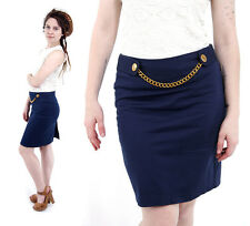 Vintage 90s Navy Blue Pencil Office Secretary Skirt Full Lined Gold Metal Chain