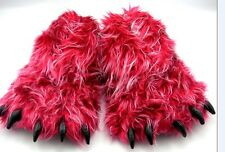Monster Long Hair Red Big Foot Unisex Bear Animal Plush Claw Paw Slippers Adult