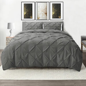 Down Alternative Comforter Set 3 Piece Pinch Pleated Duvet Insert with Shams