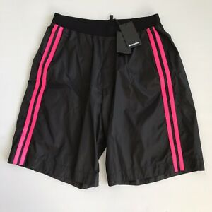 NWT DSQUARED2 Black Neon Pink Stripe Shorts Made in Italy Size 48