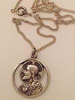 pendentif  vintage argent 925 médaille religieuse double face superbe 265