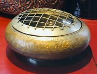 Vintage Hand Made Brass Incense Burner  Bowl With Lid From India