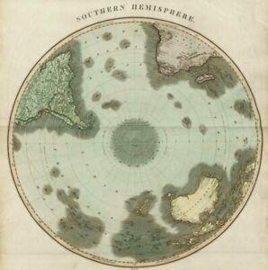 """Southern hemisphere"" Antarctic Australia South America/Africa. THOMSON 1817 map"