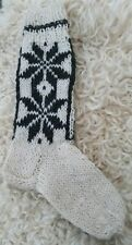 Natural 100% Sheep Wool Hand Knitted Long Length Socks,Warm,White, Size 4-7.
