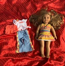 "2014 American Girl Doll 18"" Dark Blond Hair Green Eyes W/ Extra Clothes"