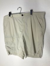 Mens Columbia Omni-Shade Hiking Fishing Cargo Shorts 42 - Tan - Nylon
