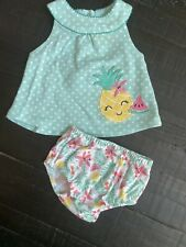 Infant Baby Girl Sleeveless Newborn 0-3 Months Bloomers Short Set, Pineapple