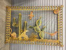 """62x42"""" 3D Metal Artwork Framed Cactus Lizard Tumbleweed Texas Old Western Desert"""