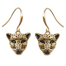 Navachi 18K GP Cheetah Leopard Head Crystal Earrings Drop BH1384