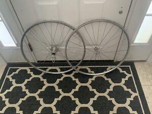 early vintage Hi-E hi low bicycle wheel set unusual spoke patern  Rear 135 mm