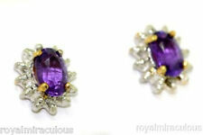 Birthstone Earrings Amethyst & Diamond (February) Sterling Silver or Gold Plated