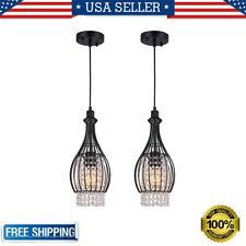 2 Pack Modern Crystal Ceiling Pendant Light Hanging Lamp E26 Adjustable Height