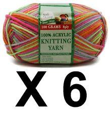 Knitting wool 6 x 100g acrylic yarn 8ply Multi Colour Fluro 100%25 Brand New