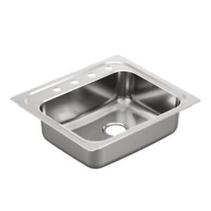 MOEN 2000 Series Drop-In Stainless Steel 25 in. 4-Hole Single Bowl Kitchen Sink