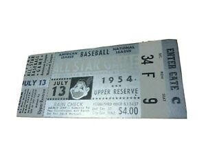 1954 MLB All Star Game at Cleveland Indians Upper Reserve Ticket Stub
