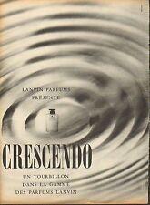 Publicité Advertising 1960 parfum  LANVIN présente CRESCENDO