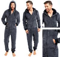 Mens All In One Pyjamas Fleece Snug Hooded Warm Shaggy Hooded Nightwear Winter