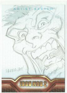 Iron Man 2 Movie Upper Deck 2010 Sketch Card 1/1 Artist Jim Hanna - Hulk ?