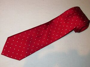 Jos A Bank Tie Executive Red White Dots Woven Luxury Designer Silk Necktie Mens