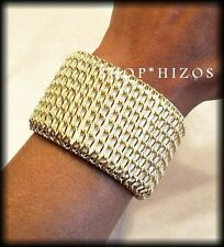 """WHITE CORAL BLACK LEATHER GOLD CHAIN LINK WRAPPED 7"""" ADJUSTABLE BRACELET NEW"""