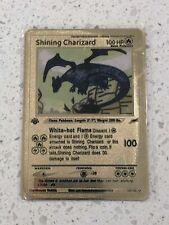 Pokemon Shining Charizard 1st Edition Gold Metal Custom Card - Neo Destiny Card