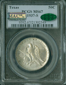 1937-S TEXAS PCGS MAC CAC MS-67 2ND FINEST REGISTRY GORGEOUS