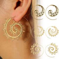 Retro Circles Round Spiral Tribal Hoop Earrings Ear Stud Piercing Jewelry Women