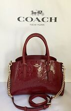 COACH F31485 MINI SAGE SIGNATURE DEBOSSED PATENT LEATHER CHAIN SATCHEL CHERRYNWT