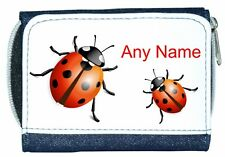 Personalised Girl/Lady Denim Purse With Cute Lady Bird/Birds/Bug