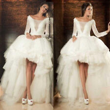 Long Sleeves Lace High Low Tulle Wedding Dresses Bridal Gown Lace-up Back Custom